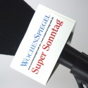 Logo auf dreieck Mikrofonwürfel - weiß - 90x50mm.