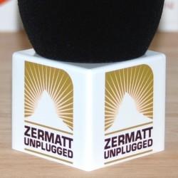Logo auf Mikrofonwürfel - Weiß - 70x62mm.
