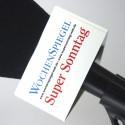 Logo in triangle mic flag - white - 90x50mm.